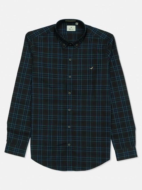 Frio Cotton Dark Grey Checks Shirt