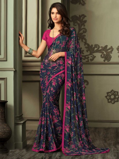 Georgette Saree In Navy For Festive Occasion