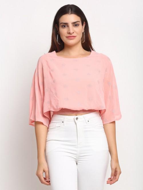 Global Republic Peach Latest Georgette Casual Wear Top