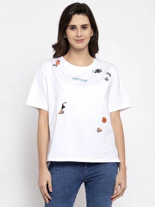 Global Republic White Georgette Casual Wear Western Top