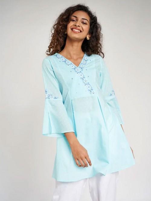 Globaldesi Light Blue Self Design Embroidered Tunic Top