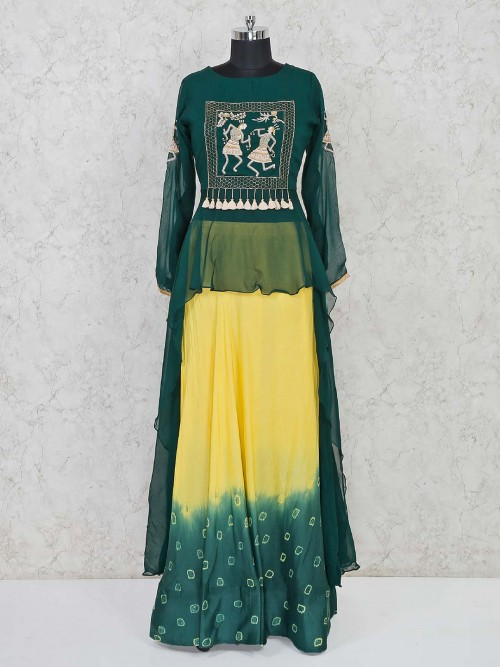 Green And Yellow Peplum Style Indo Western Salwar Suit