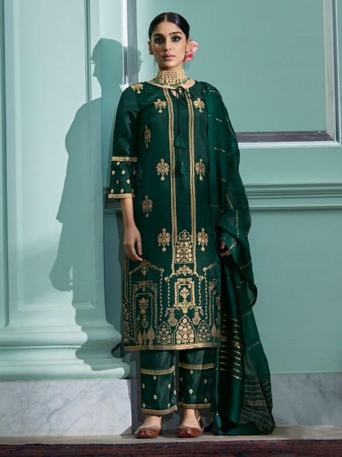 Green Cotton Festive Wear Pant Style Punjabi Suit