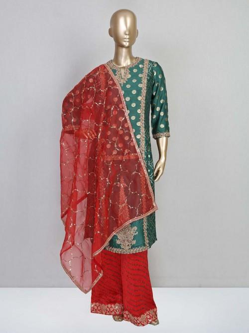 Green Cotton Silk Wedding Wear Palazzo Suit