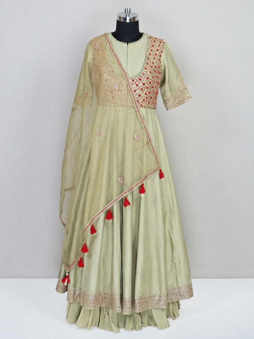 Green Designer Cotton Silk Wedding Salwar Kameez