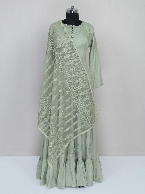 Green Floor-length Cotton Suit For Wedding