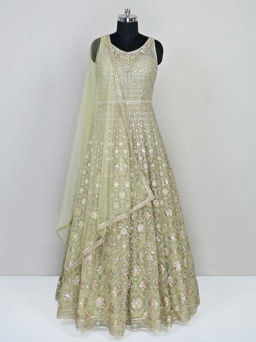 Green Floor Length Gown For Wedding Session