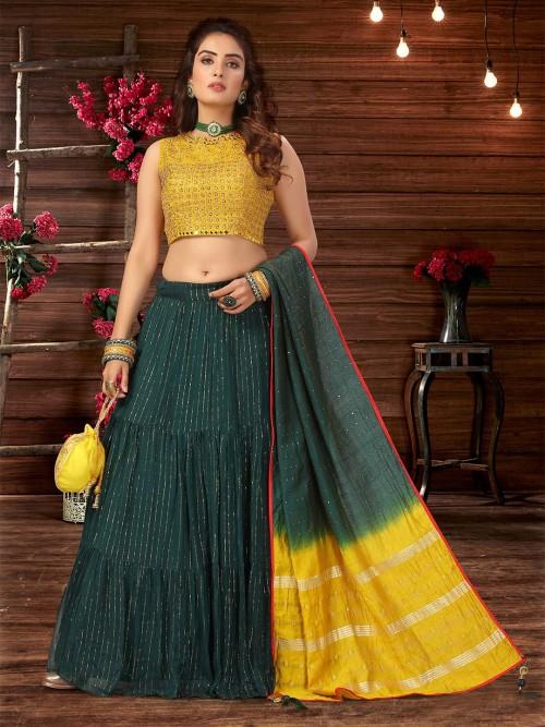 Green Georgette Designer Womens Lehenga Choli
