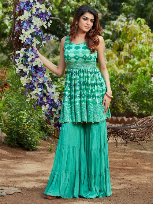 Green Printed Design Georgette Sharara Suit