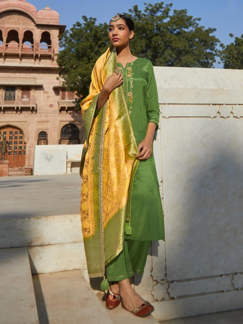 Green Punjabi Festive Wear Cotton Suit