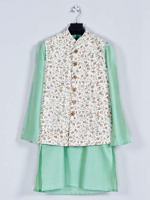 Green Silk Party Wear Boys Waistcoat