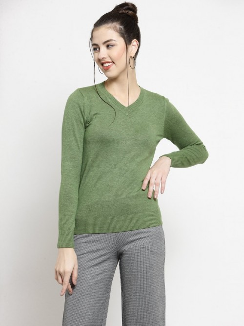 Green V Neck Casual Knitted Top