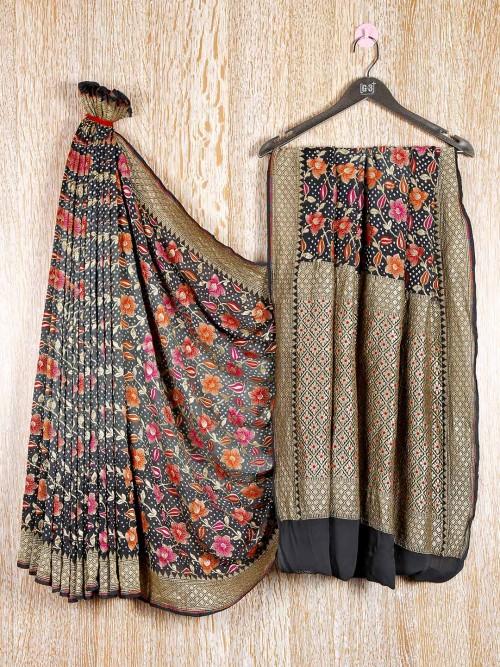 Grey Bandhej Festive Ocassion Thread Zari Woven Saree