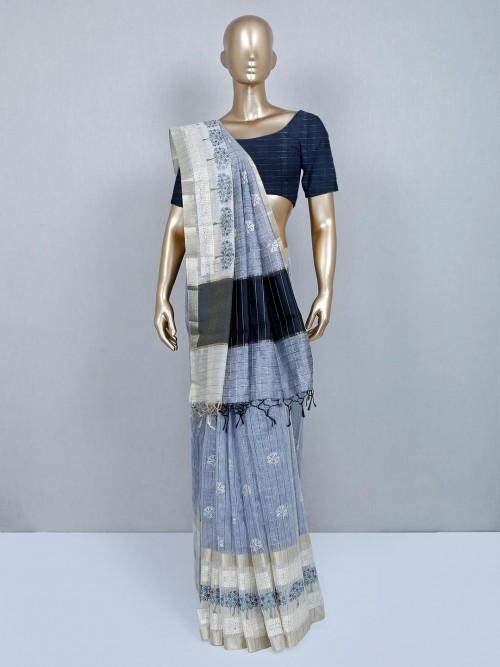 Grey Designer Cotton Wedding Wear Saree