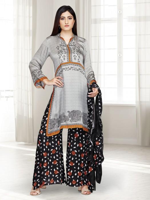 Grey Printed Punjabi Palazzo Suit