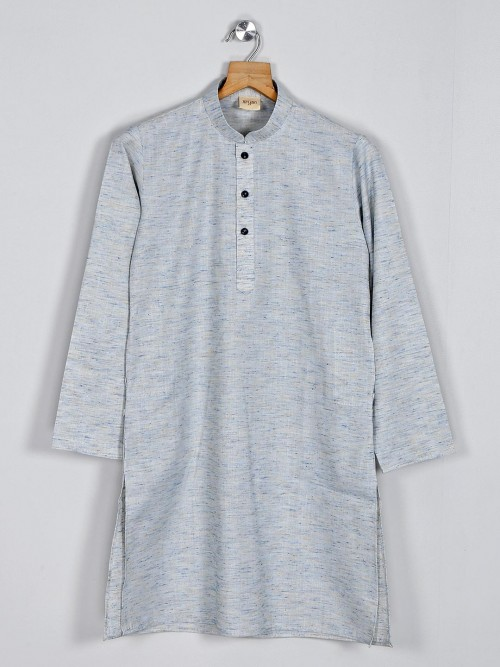Grey Solid Cotton Kurta In New Style