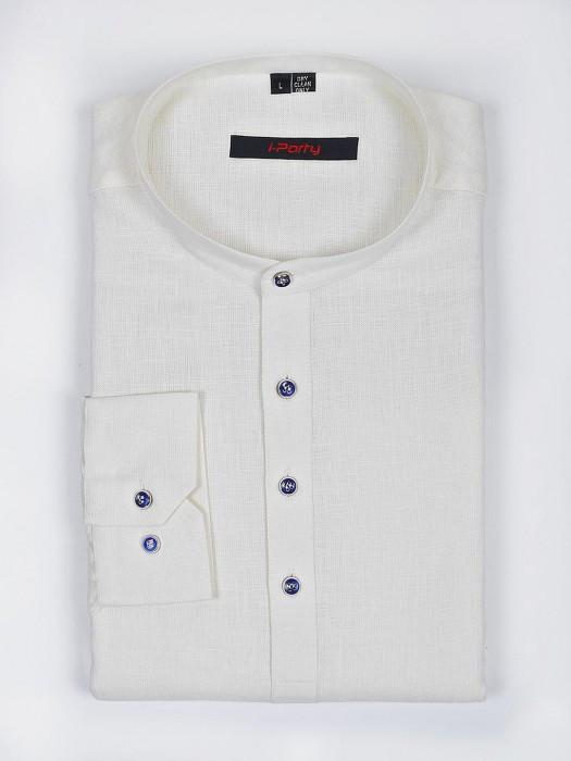 I Party Cream Hue Linen Fabric Solid Shirt