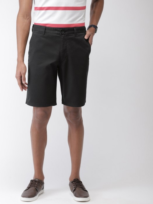 Indian Terrain Solid Black Colored Shorts