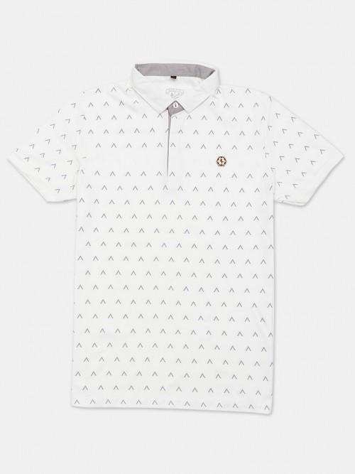 Instinto White Printed Cotton Polo T-shirt