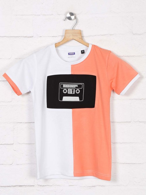 Jappkids Peach And White Printed T-shirt