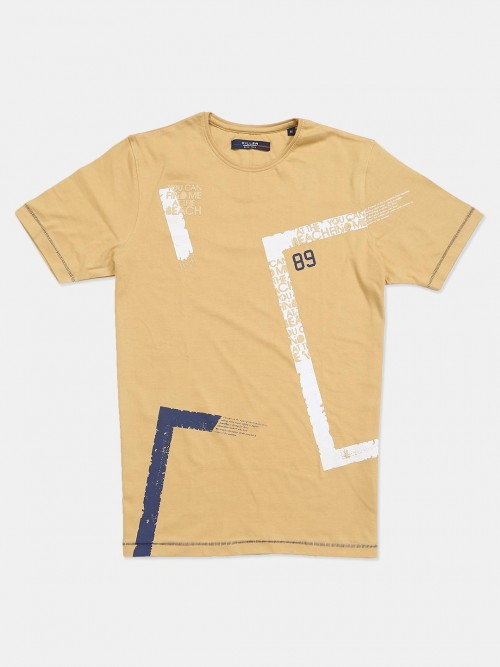 Killer Khaki Printed Cotton Slim Fit Mens T-shirt