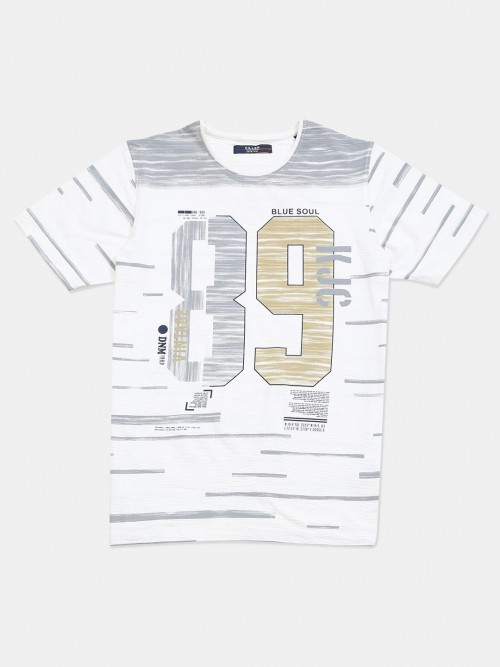 Killer Off White Printed Slim Fit Cotton T-shirt
