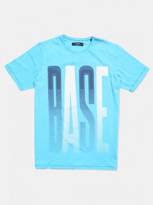 Killer Printed Aqua Half Sleeves Cotton T-shirt