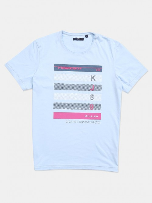 Killer Printed Sky Blue Cotton Slim Fit T-shirt