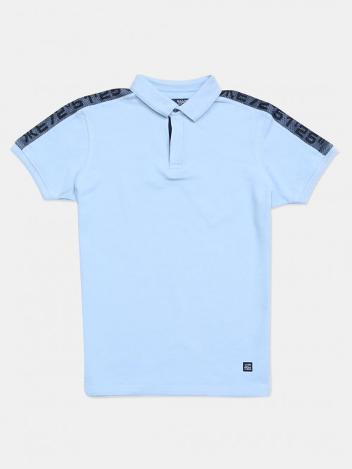 Killer Sky Blue Solid Cotton Slim Fit Polo T-shirt