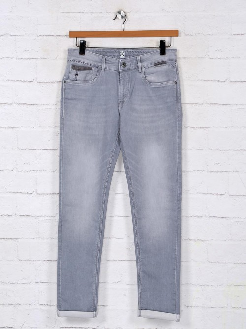 Kozzak Washed Light Grey Denim Jeans