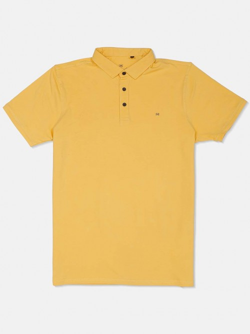 Kuch Kuch Solid Yellow Casual Polo T-shirt