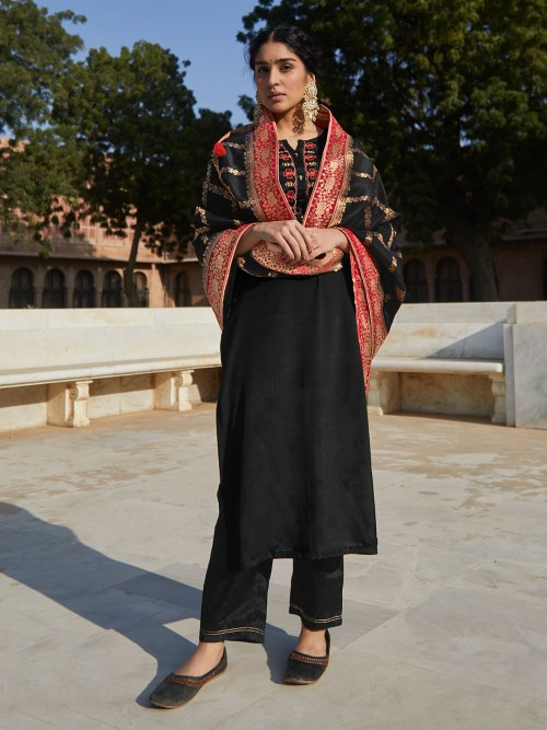 Latest Black Zari Inflated Cotton Suit And Salwar