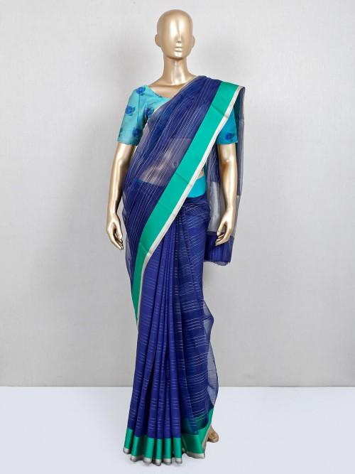 Latest Blue Designer Cotton Printed Saree For Festive Wear