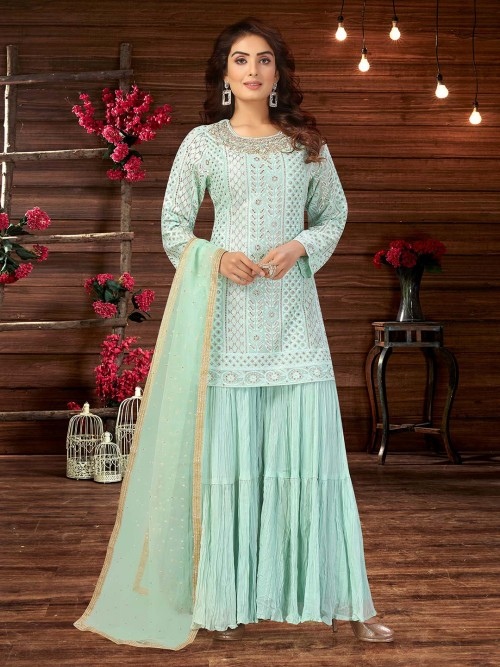 Latest Designer Aqua Sharara Salwar Kameez In Georgette