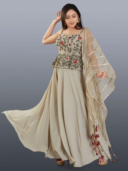Latest Designer Grey Cotton Silk Palazzo Suit For Wedding