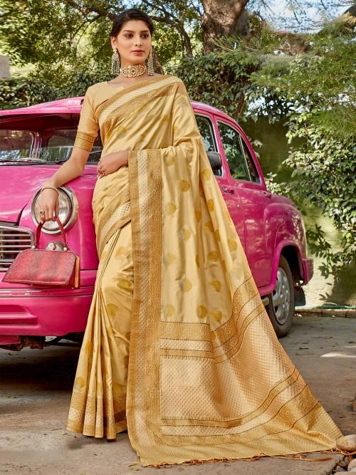 Latest Designer Semi Silk Wedding Wear Sari In Beige