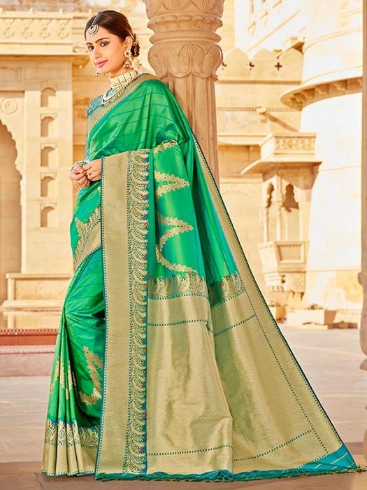 Latest Green Banarasi Soft Silk Saree