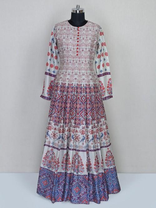 Latest Grey Cotton Silk Designer Gown