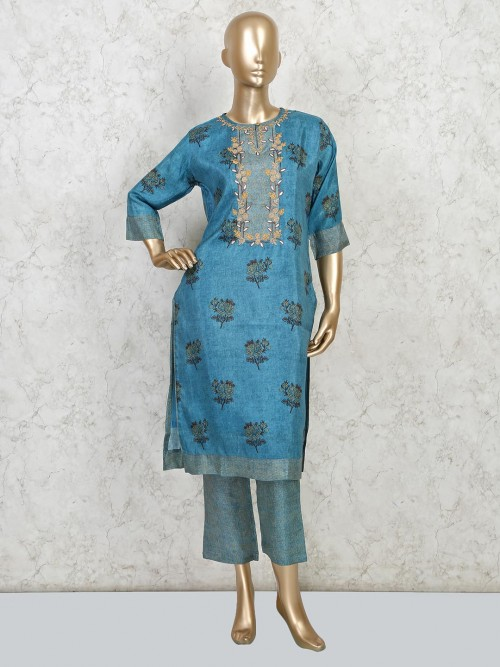 Latest Printed Blue Cotton For Festive Wear