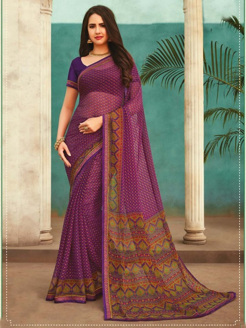 Latest Printed Purple Georgette Festive Wear Saree