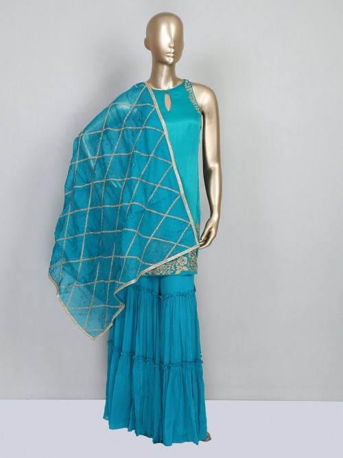 Latest Rama Green Satin Silk Festive Wear Salwar Kameez