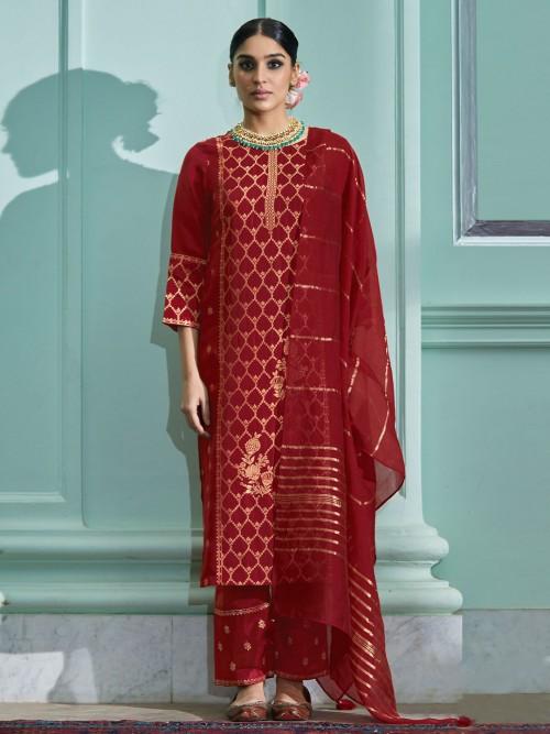 Latest Red Cotton Festive Wear Pant Suit