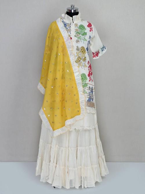 Latest White Cotton Lehenag Style Salwar Kameez