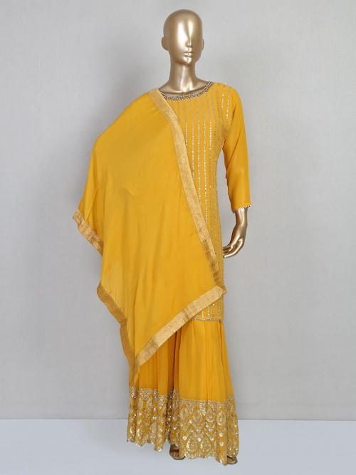 Latest Yellow Georgette Sharara Salwar Kameez