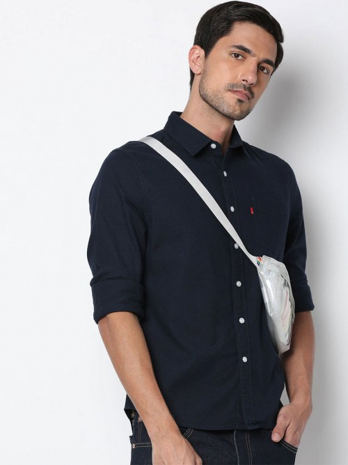 Levis Solid Navy Mens Cotton Shirt