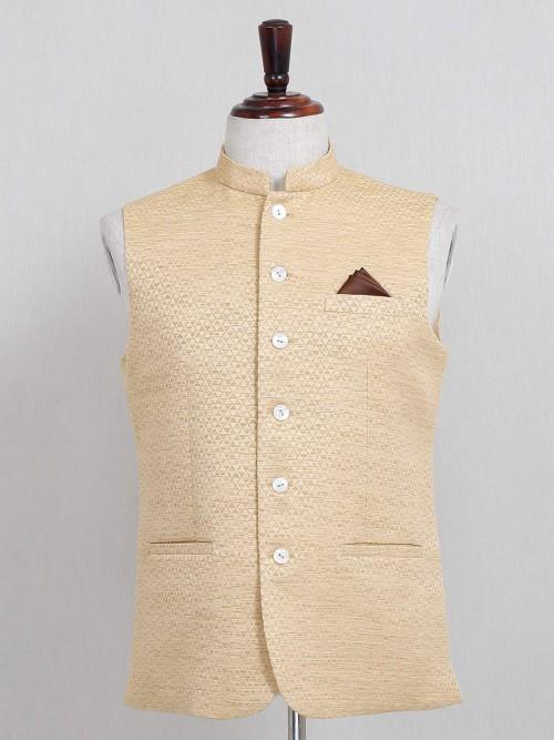 Light Yellow Cotton Silk Textured Waistcoat Party Wear