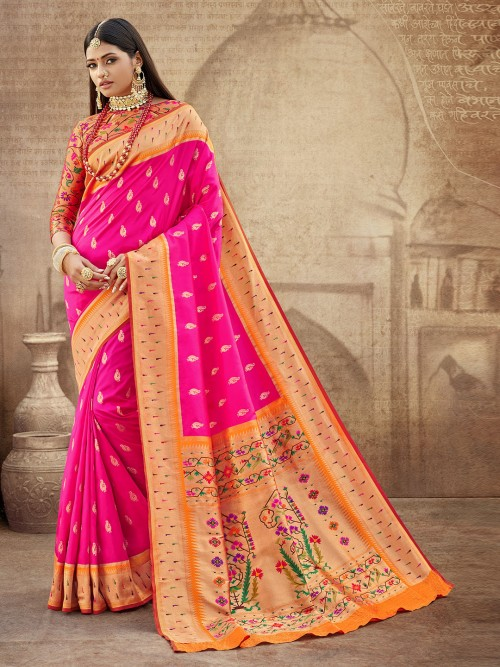 Magenta Banarasi Paithani Silk Wedding Wear Saree