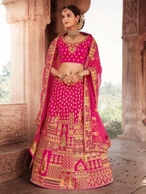 Magenta Bridal Designer Semi Stitched Lehenga Choli For Wedding
