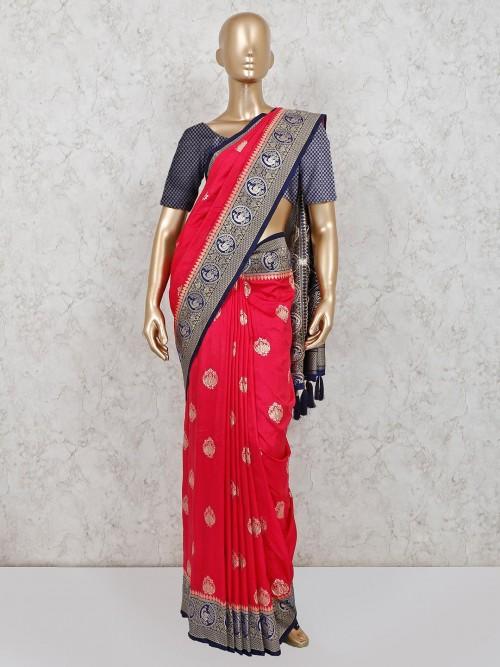 Magenta Dola Silk Saree For Wedding Days