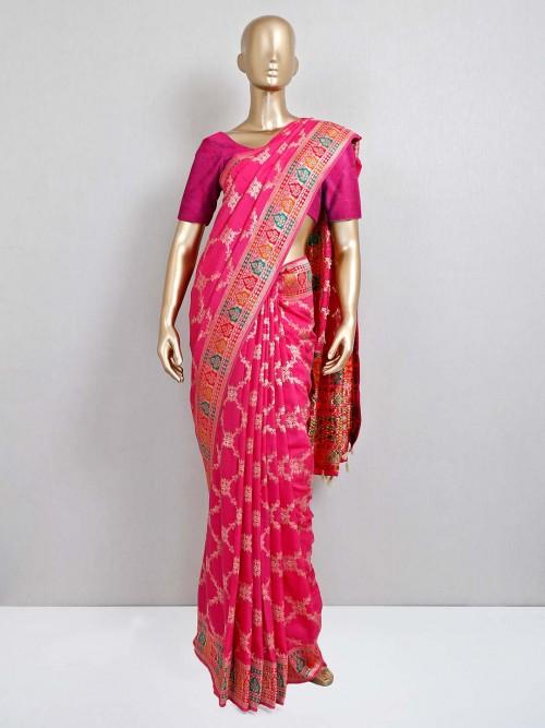Magenta Dola Silk Wedding Exclusive Saree